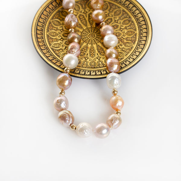 large baroque strand of pearls necklace