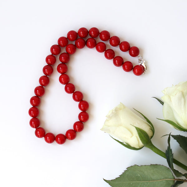 large beaded coral necklace