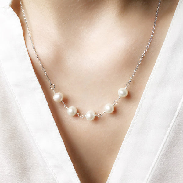 Layering White Pearl Necklace