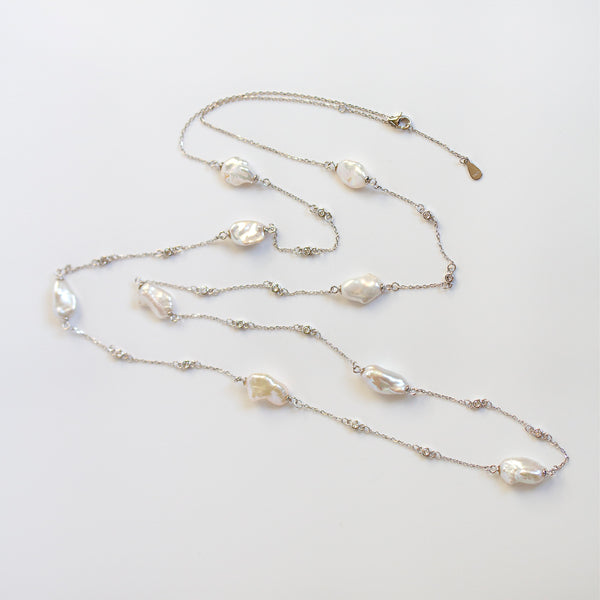 long pearl necklace silver
