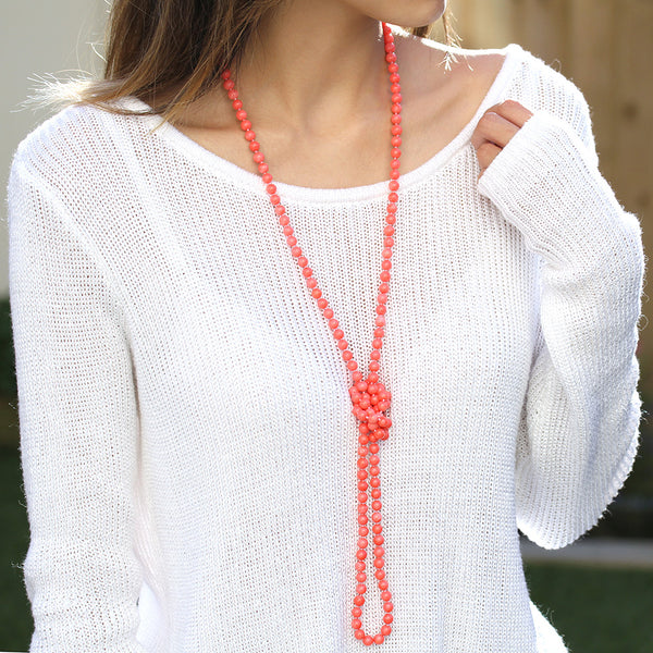 long pink coral necklace