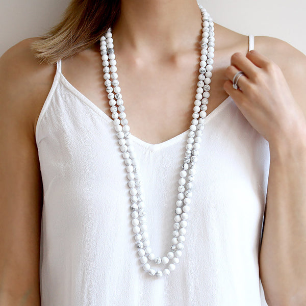 Long White Howlite Necklace