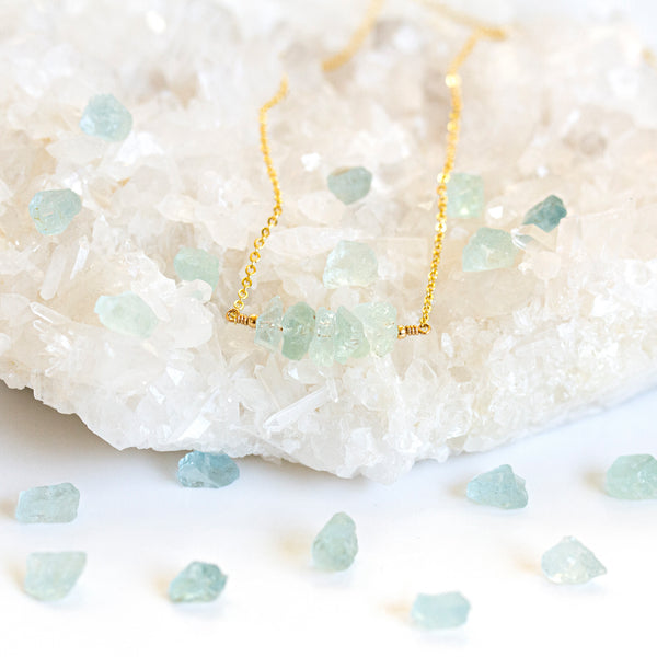 march birthstone necklace aquamarine gold