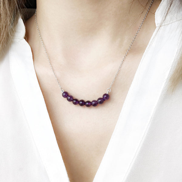 Minimalist Amethyst Bar Necklace