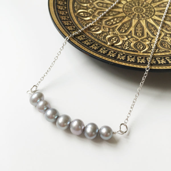 Minimalist Grey Pearl Necklace