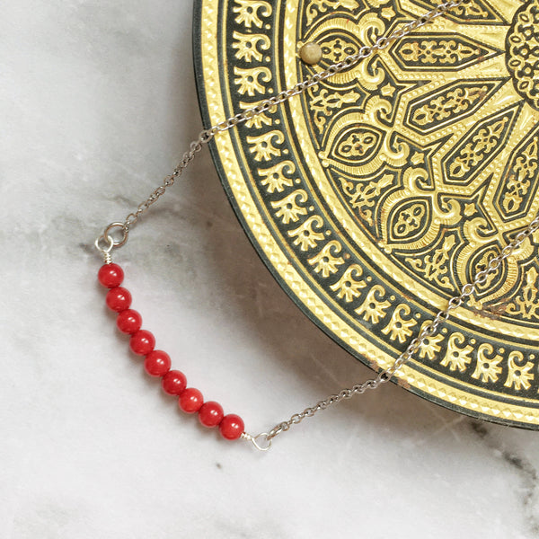 Minimalist Red Coral Necklace