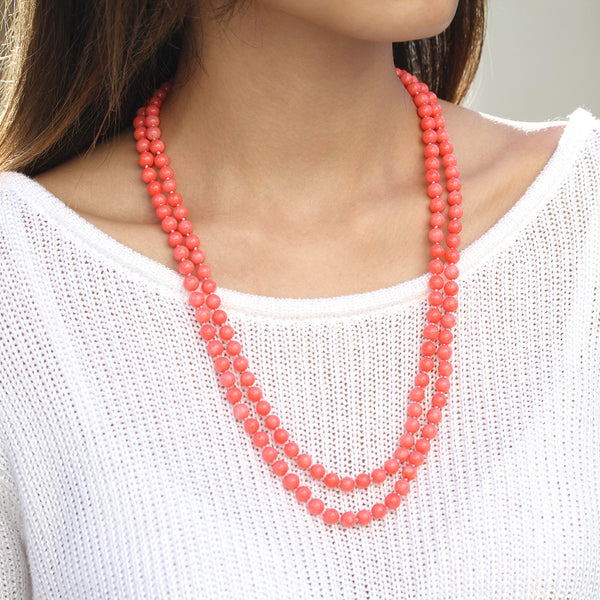 multistrand coral necklace