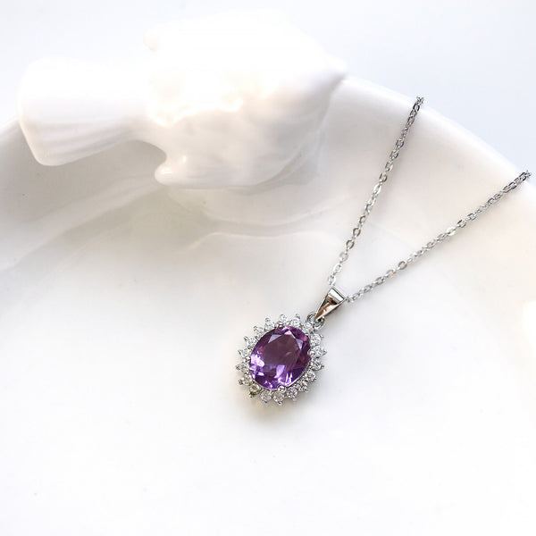 Natural Amethyst Pendant Necklace