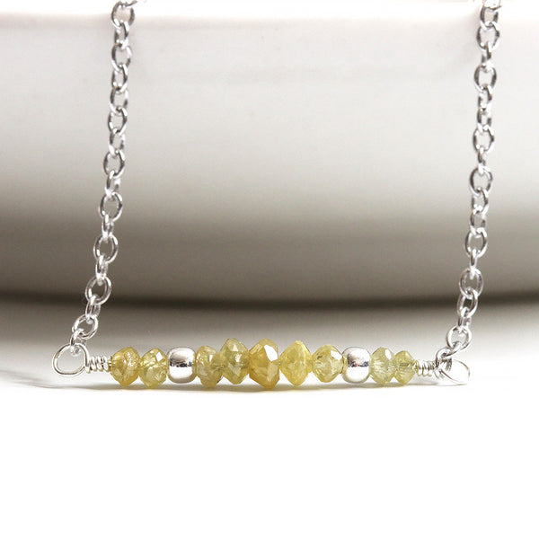 Natural Yellow Diamond Necklace, Silver