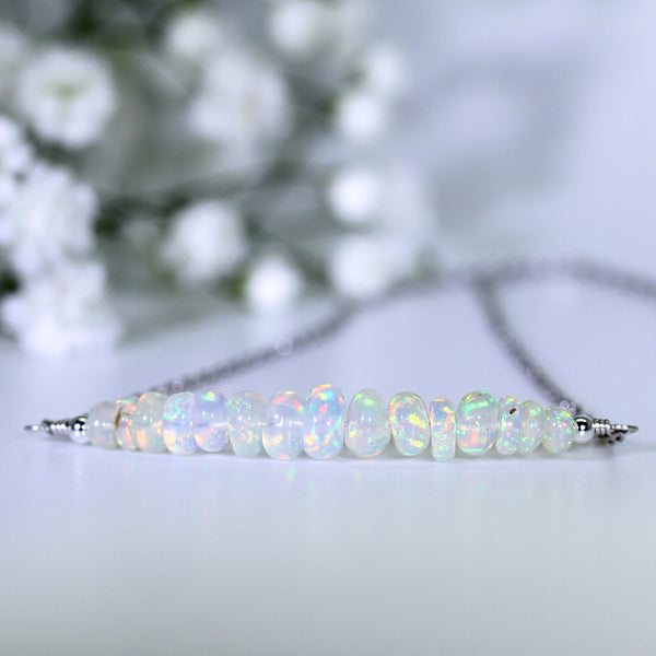 natural opal bar necklace