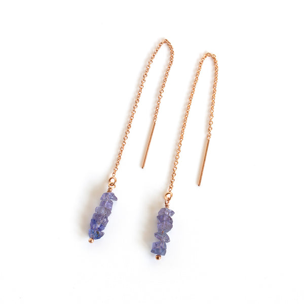 natural raw tanzanite threaders
