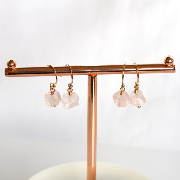 natural rose quartz earrings gold filled