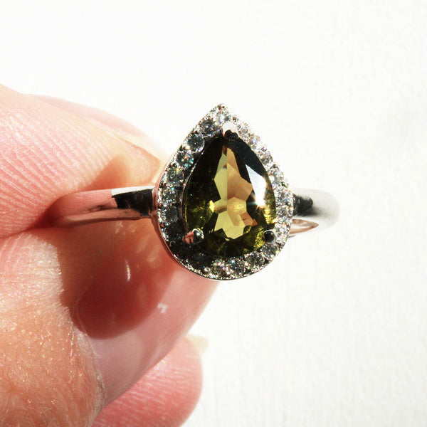 Olive Green Gemstone Sterling Silver Ring Pearlberry Jewellery