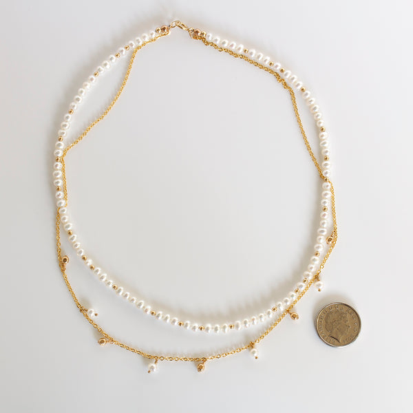 pearl chain necklace gold