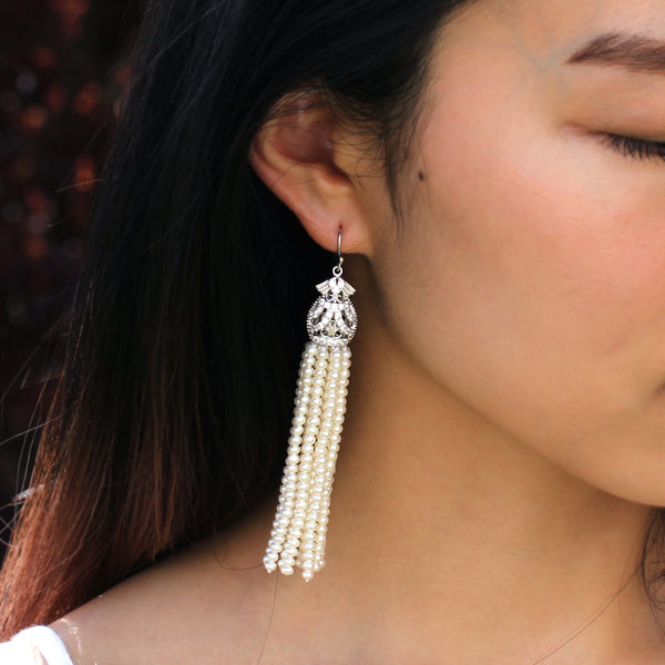 pearl tassels earrings jewellery