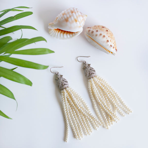 pearlberry handmade pearl tassel earrings
