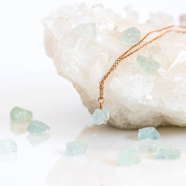 pearlberry jewellery aquamarine pendant rose gold
