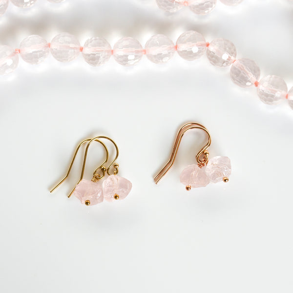 pearlberry raw rose quartz earrings rose gold