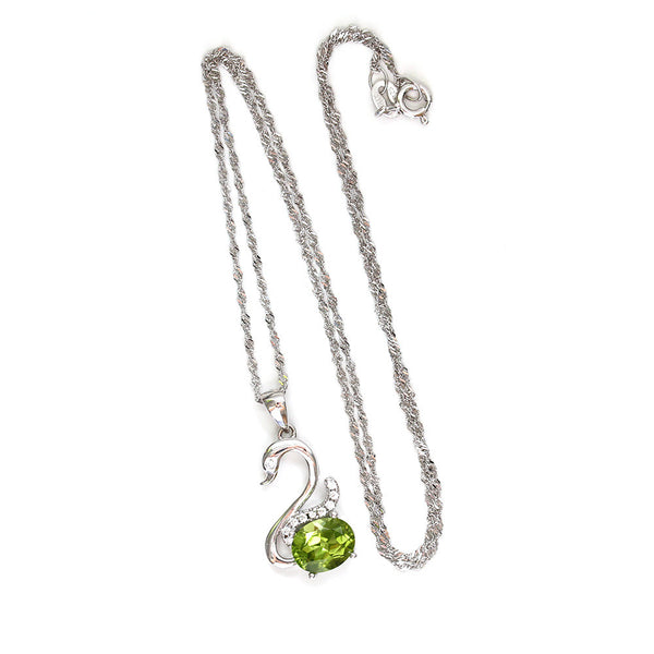 Peridot Swan Pendant Necklace Silver