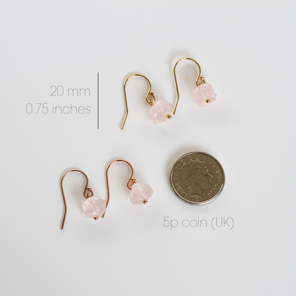 pink rose quartz earrings uk