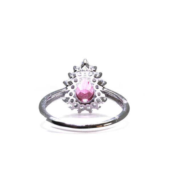 Pink Tourmaline Flower Ring Back View Pearlberry Jewellery