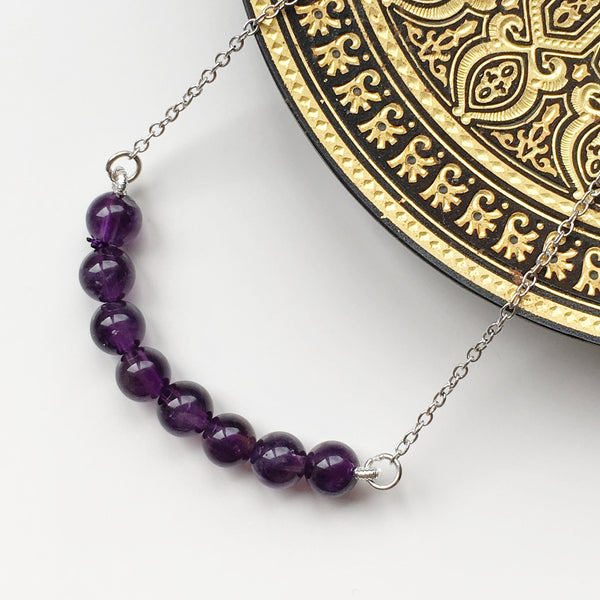 Pretty Amethyst Sterling Silver Necklace
