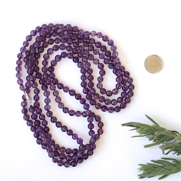 Purple Amethyst Necklace Long