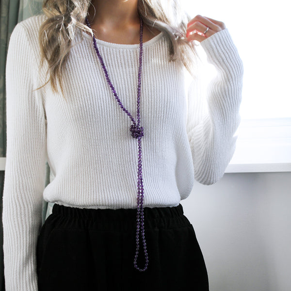 Purple Crystal Necklace Long