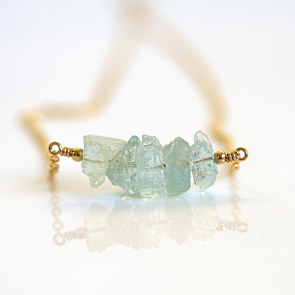 raw aquamarine bar necklace gold