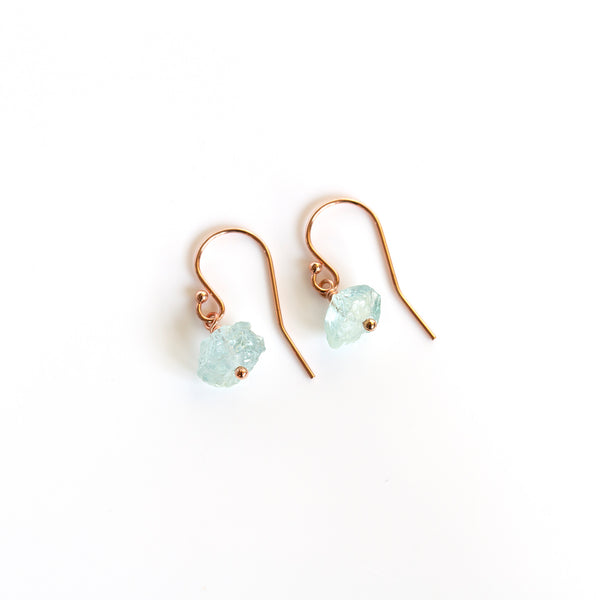 raw aquamarine earrings pearlberry