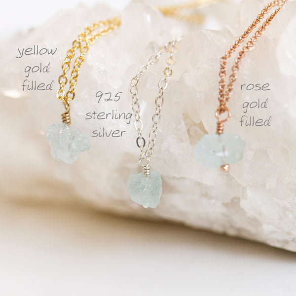 raw aquamarine necklace gold silver rose gold with writing