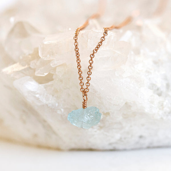 raw aquamarine pendant rose gold pearlberry