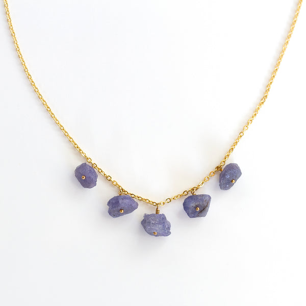 raw tanzanite necklace gold