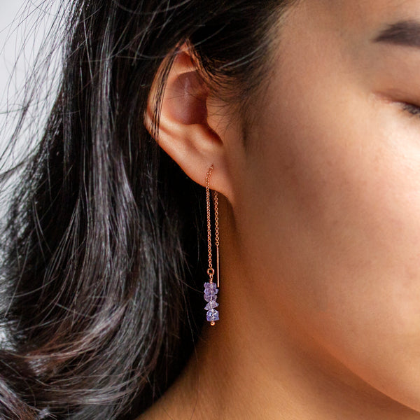 raw tanzanite threader earrings rose gold filled