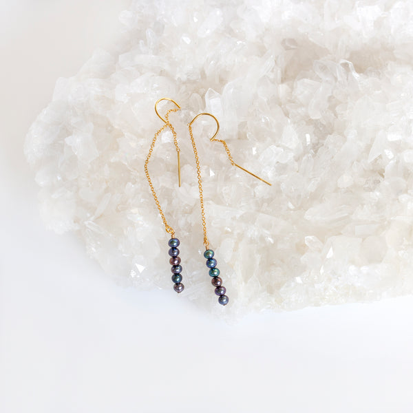 real pearl earrings black gold