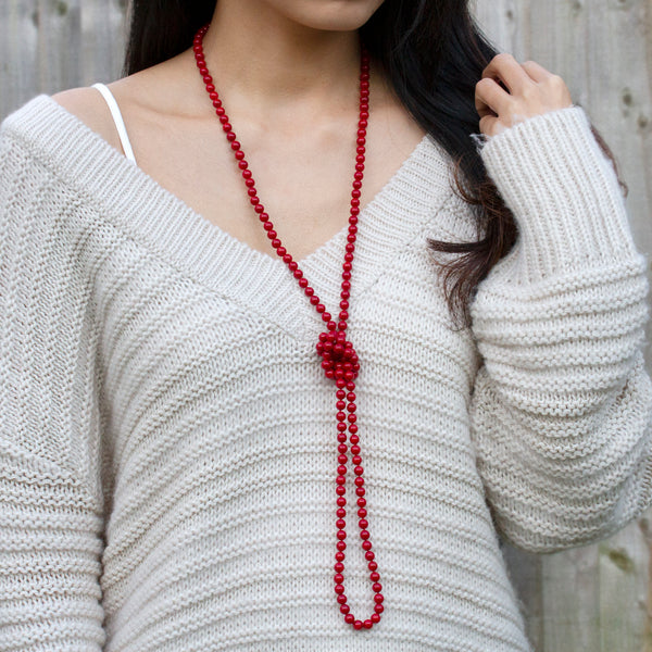 red coral necklace long beaded