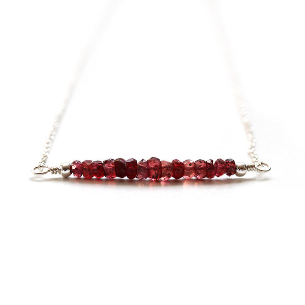 Red Ruby Necklace Silver