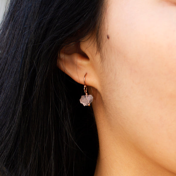 rose gold filled rose quartz earrings handmade