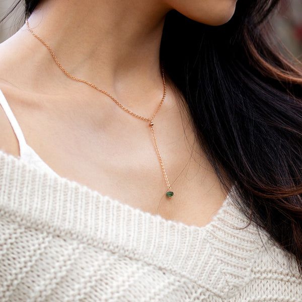 rose gold lariat necklace emerald