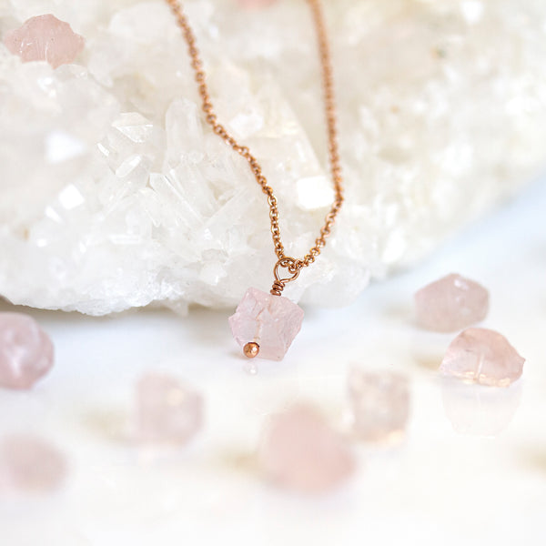 rose gold rough rose quartz necklace