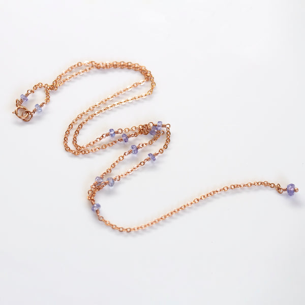 rose gold tanzanite necklace pearlberry