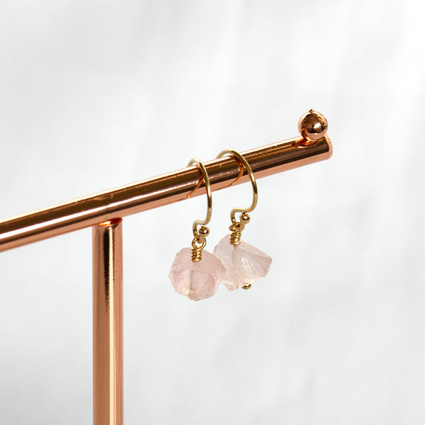 rose quartz earrings gold
