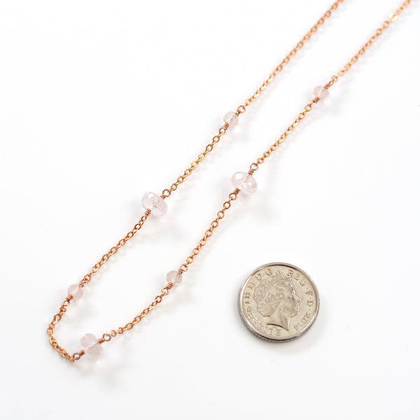 rose quartz dainty necklace rose gold