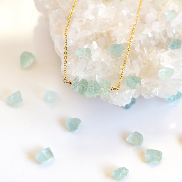 rough aquamarine necklace pearlberry