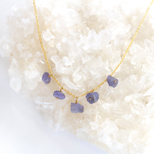 rough tanzanite necklace gold filled