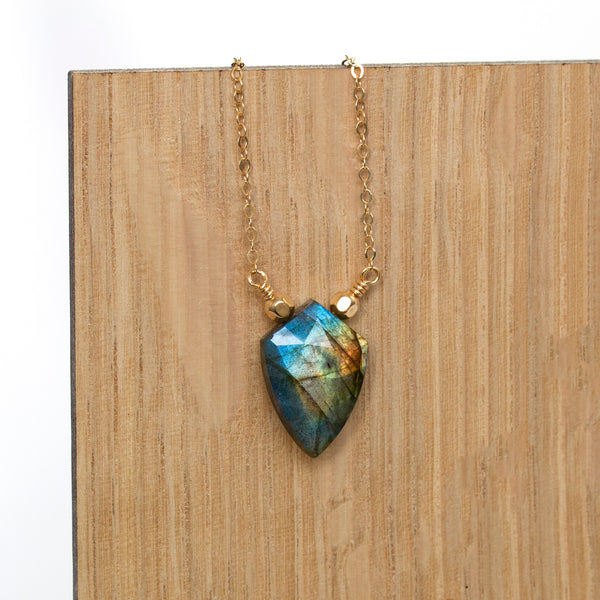 shield necklace labradorite