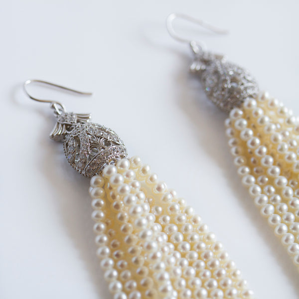 silver CZ pearl tassel earrings