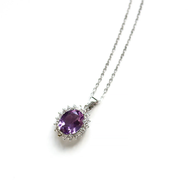 Silver Amethyst Pendant Necklace