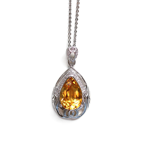 Silver Celtic Necklace Golden Citrine