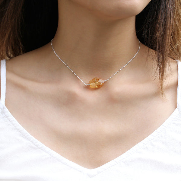 Silver Citrine Choker Necklace
